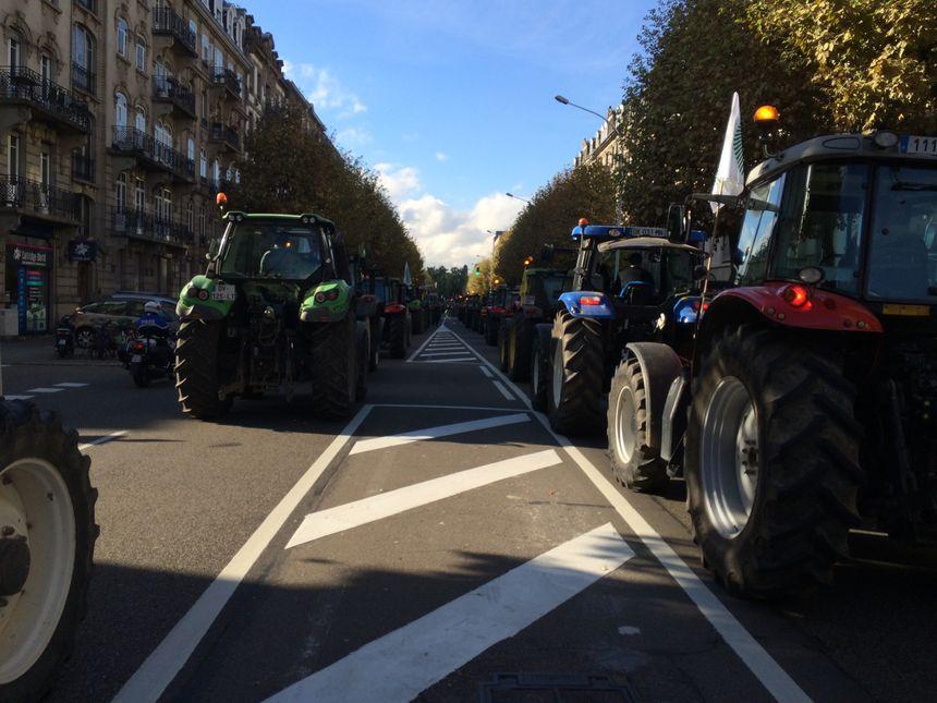 Des tracteurs au centre de Strasbourg