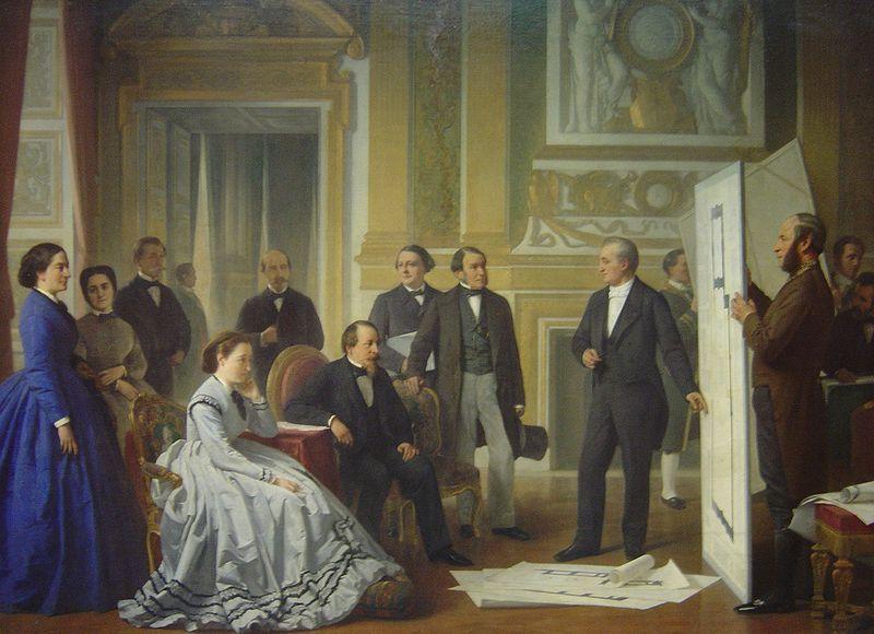 L'achèvement du Louvre. L'empereur approuvant les plans présentés par M. Visconti. Peinture d'Ange Tissier