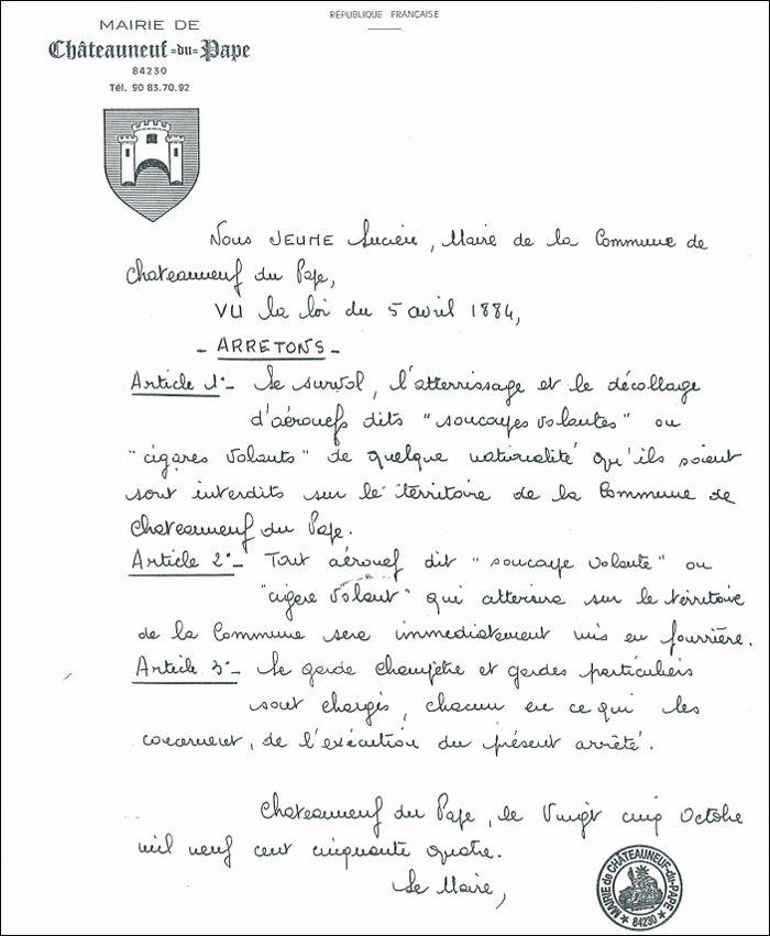 Copie de l'arrêté anti-ovni de Châteauneuf-du-Pape