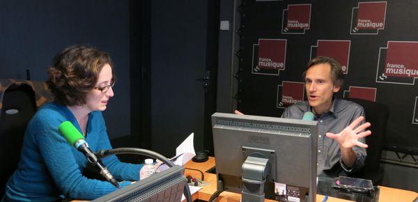 France Musique, studio 143... notre invitée la brillante Caroline Giron-Panel & Philippe Venturini, producteur (de g. à d.) ©Annick Haumier-Radio France