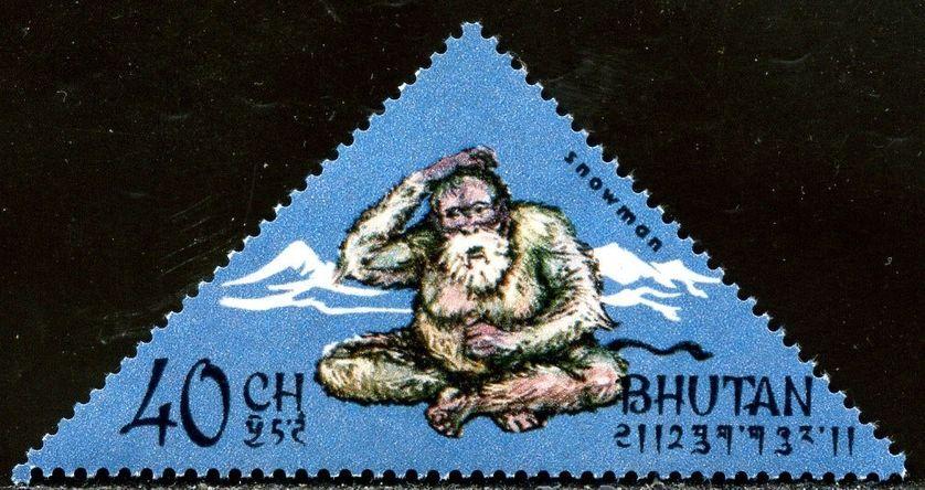 Un timbre du Bhoutan représentant le Yéti.