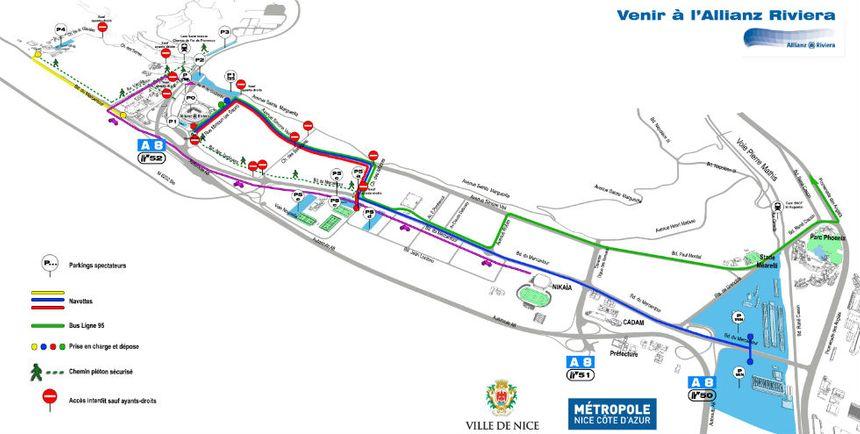 Le nouveau plan d'accès à l'Allianz Riviera les soirs de match de l'OGC Nice.