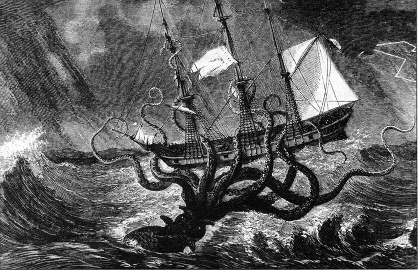 Un calmar géant attaquant un navire.