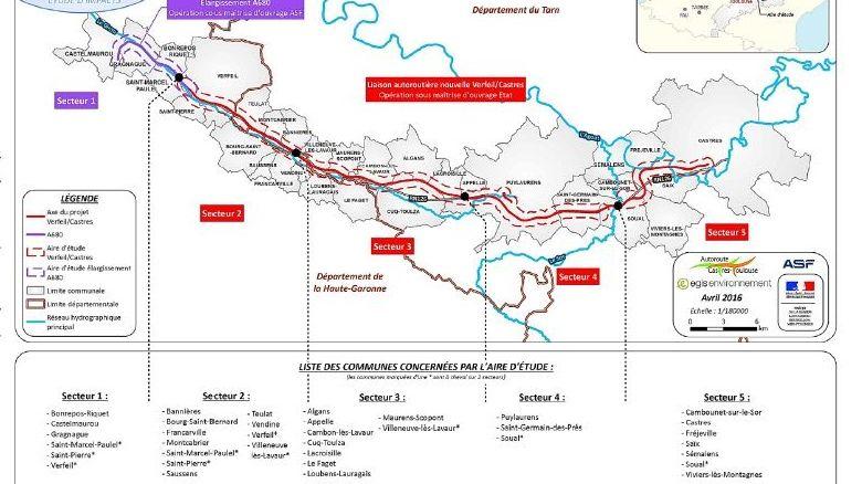 Le tracé passe par 25 communes de Haute-Garonne et du Tarn.