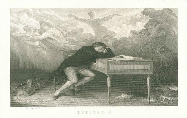 Aimé DE LEMUD (1816-1887) Le Rêve de Beethoven, 1863 gravure, 62,5 x 79,5 cm © Beethoven-Haus, Bonn Carl