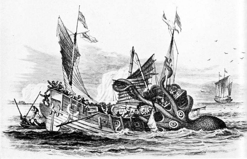 Un monstre marin attaque un navire marchand.