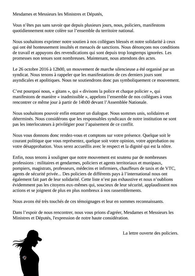 Des policiers exaspérés écrivent une lettre ouverte aux ministres et députés.