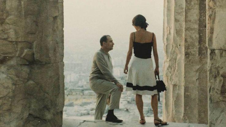 François Mitterrand et Anne Pïngeot à l'Acropole vers 1970.