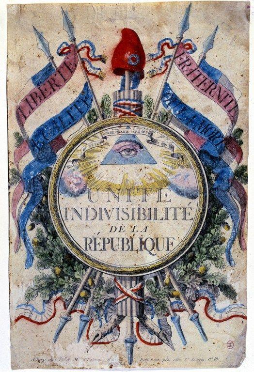 """Révolution francaise : """"Liberté, égalité, fraternité ou la mort. Unité indivisibilité de la république"""", les symboles révolutionnaires, 1792. Paris, musee Carnavalet"""