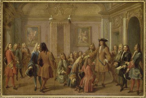 François Marot, Première promotion des chevaliers de l'ordre de Saint-Louis par Louis XIV, à Versailles le 8 mai 1693, XVIIe siècle.