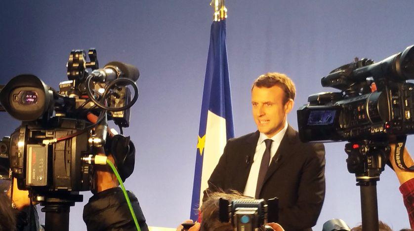 Emmanuel Macron à l'annonce de sa candidature à la présidence de la République le 16 novembre 2016, dans un centre de formation de Bobigny