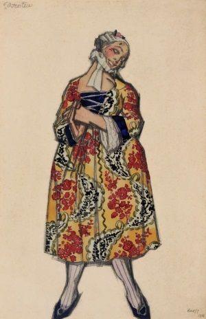 """Dessin du costume de Dorotea pour """"Les Femmes de bonne humeur"""", ballet créé au Teatro Costanzi, à Rome, par les Ballets russes de Serge Diaghilev le 12 avril 1917. Crayon, aquarelle et gouache."""