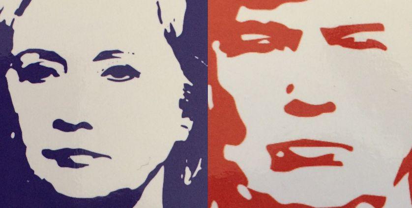 """Montage à partir couverture, """"Clinton/Trump L'Amérique en colère"""" par C. Ockrent"""