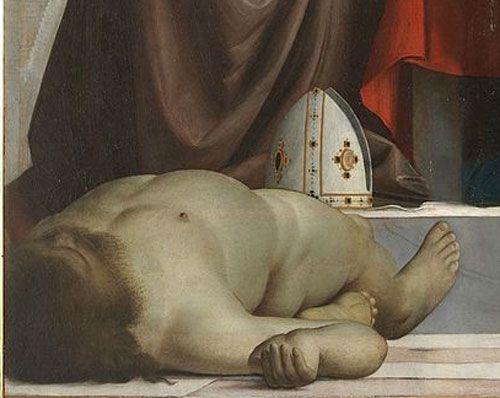 « La Vierge aux tours » -Madonna delle Torri- (1520). Détail en bas à gauche du tableau