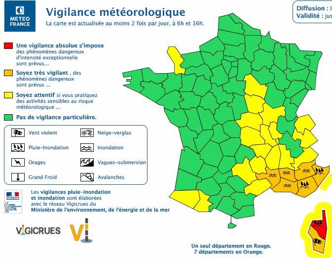 Prévisions Météo France de ce jeudi 16h à vendredi 16h.