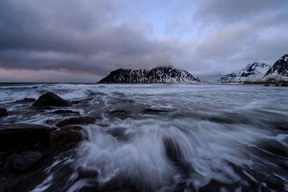 Flagstad, dans l'archipel des Lofoten, cercle Arctique