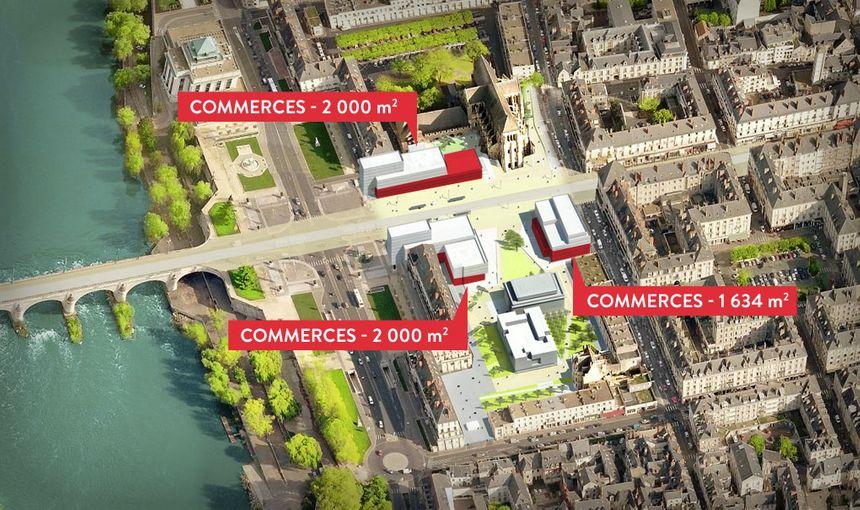 les commerces s'installeront en dessous des hôtels et des immeubles d'habitation