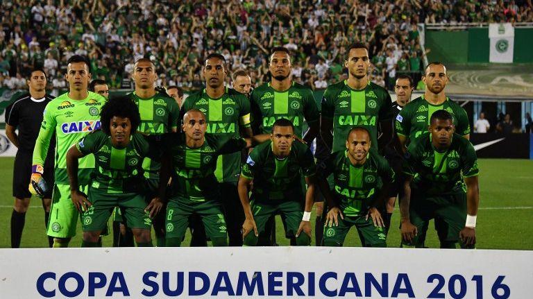 Les joueurs de l'équipe brésilienne de Chapecoense lors de la demi-finale de la Copa Sudamericana le 23 novembre dernier