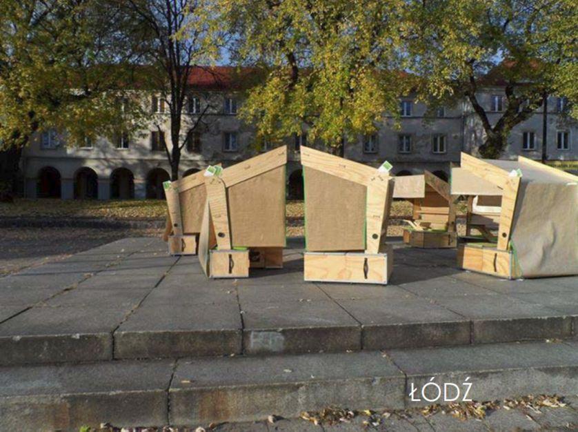 Les maisons de l'école nomade à Lodz