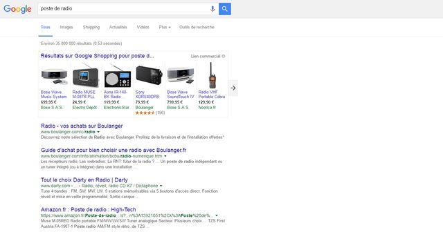 """La recherche """"poste de radio"""" fait d'abord ressortir des résultats Google"""