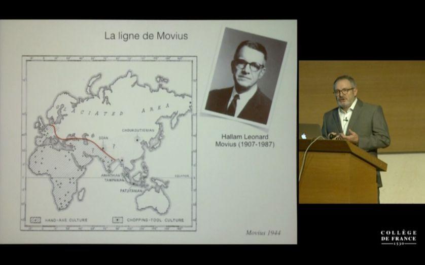 Jean-Jacques Hublin présente au Collège de France  la « ligne de Movius ». Proposé par l'archéologue américain Hallam L. Movius en 1948 pour démontrer une différence technologique entre les premières technologies d'outil préhistoriques
