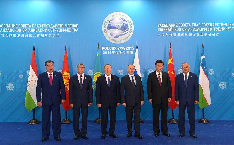 Emomalii Rahmon (Président tadjik), Almazbek Atambaïev (Pdt kirghize), Noursoultan Nazarbayev (Pdt kazakh), Vladimir Poutine (Pdt russe), Xi Jinping (Pdt chinois), Islam Karimov (Pdt ouzbek), Sommet Shanghai, 10 juillet 2015