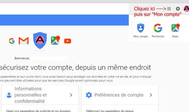 Etape 1 pour désactiver le suivi de vos activités sur Google