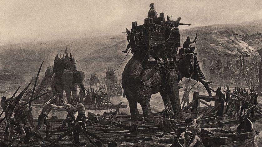Hannibal et son armée traversant le Rhône. Gravure d'Henri Motte (1878).•