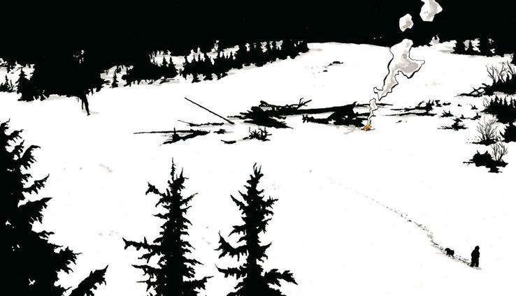 """Illustration de l'album """"Construire un feu"""", de Christophe Chabouté."""