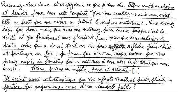 Extrait de la lettre du père René adressée à Anne et Robert