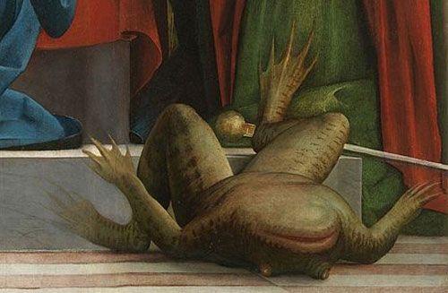 « La Vierge aux tours » -Madonna delle Torri- (1520). Détail en bas à droite du tableau