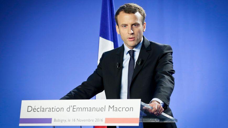 Emmanuel Macron lors de sa déclaration de candidature à l'Elysée.