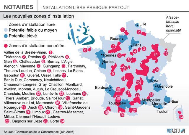 Loi Macron : carte d'implantation des nouveaux offices de notaires