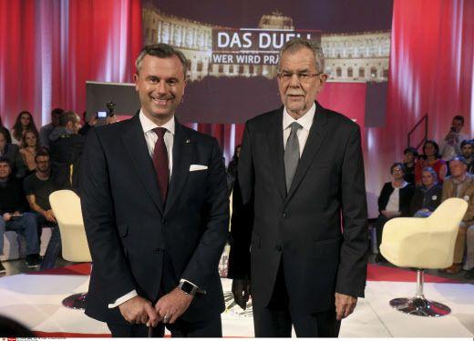 """Les deux candidats de cette élection """"bis repetita"""" :  Norbert Hofer, du parti d'extrême droite FPÖ (Freiheitliche Partei Österreichs) et Alexander Van der Bellen, de la coalition verte (Die Grünen – Die Grüne Alternative)"""