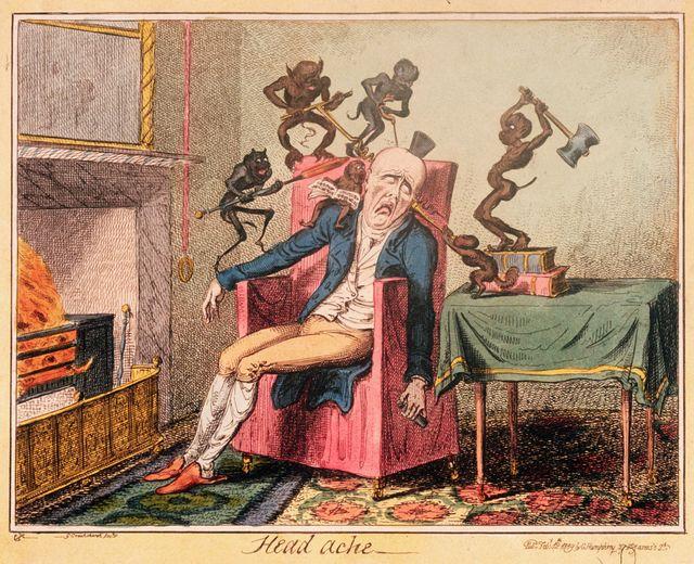 Des démons attaquent la tête d'un homme avec des instruments de torture... Illustration de George Cruikshank