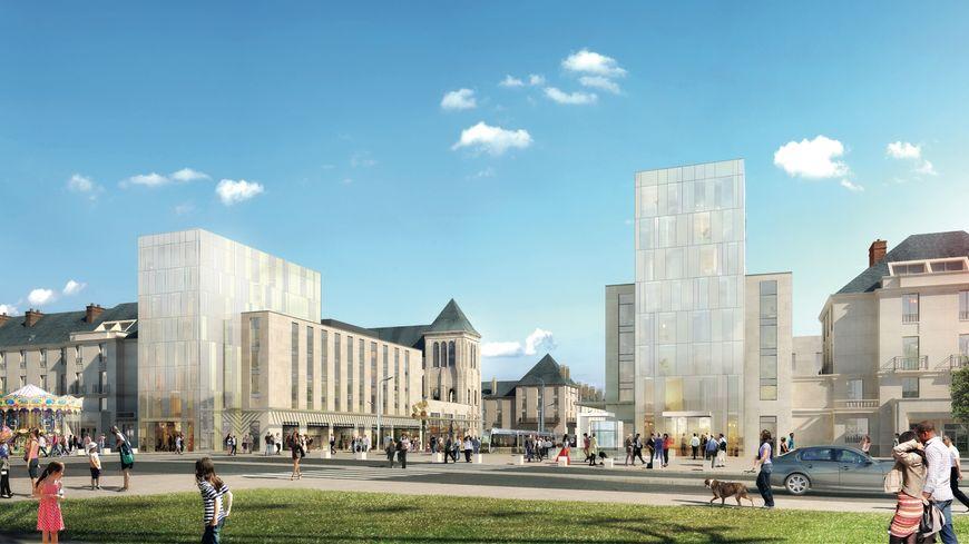 Le futur complexe du haut de la Rue Nationale avec 2 hôtels Hilton, 2 immeubles d'habitation et des commerces
