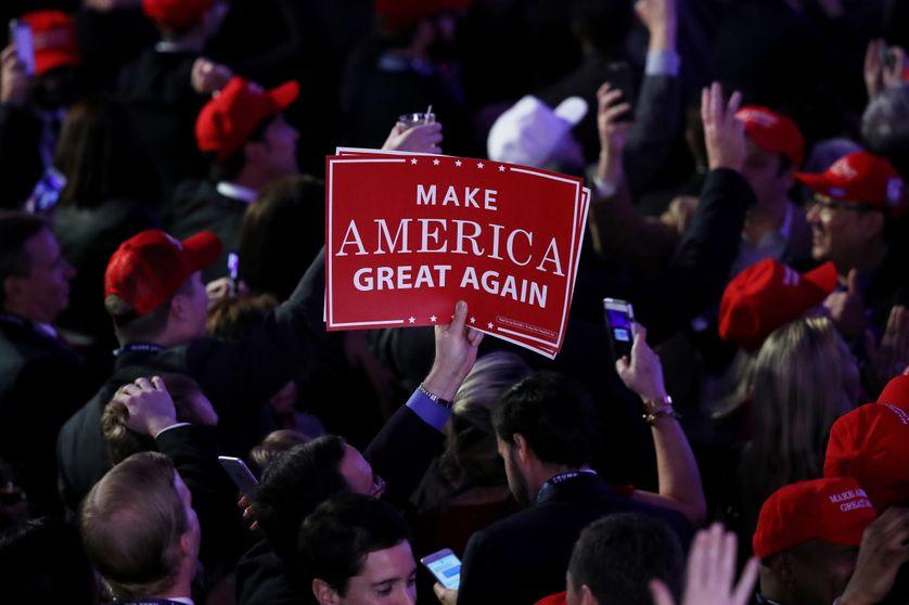 Un supporter de Donald Trump à New York le 8 novembre 2016, jour de l'élection présidentielle