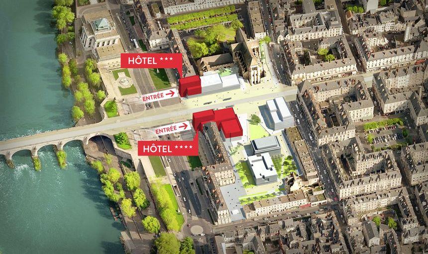 les deux hôtels Hilton face à face près de la Place Anatole France