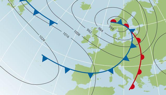 Fronts d'airs froids et chauds sur une carte météo