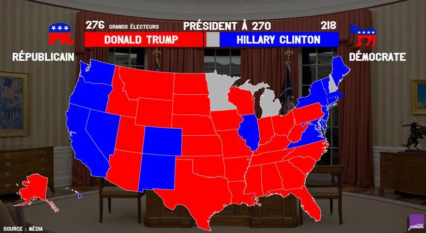 Résultat de l'élection présidentielle américaine à 12h