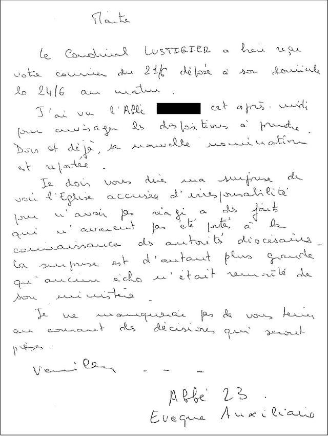 Lettre de Mgr Vingt-Trois