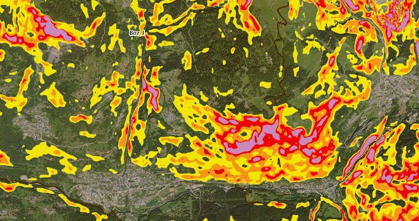 Exemple de cette carte des pentes dans le secteur de Bozel en Savoie
