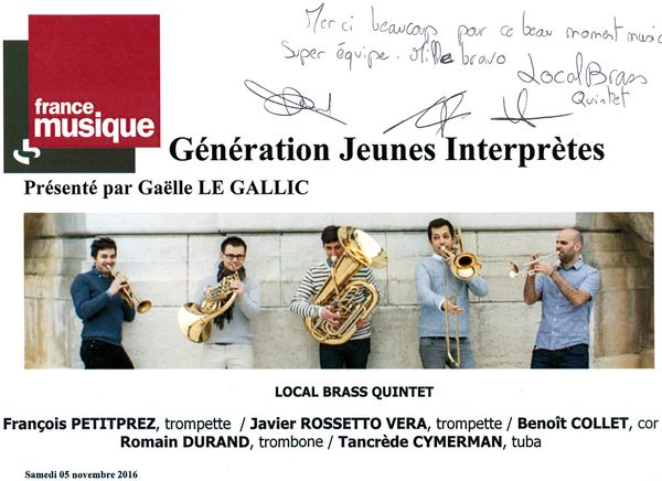 Programme de salle Local Brass Quintet