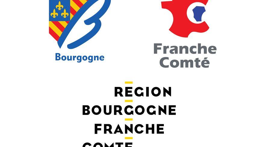 En haut, les anciens logos des deux régions, en bas le logo commun de la Bourgogne Franche-Comté