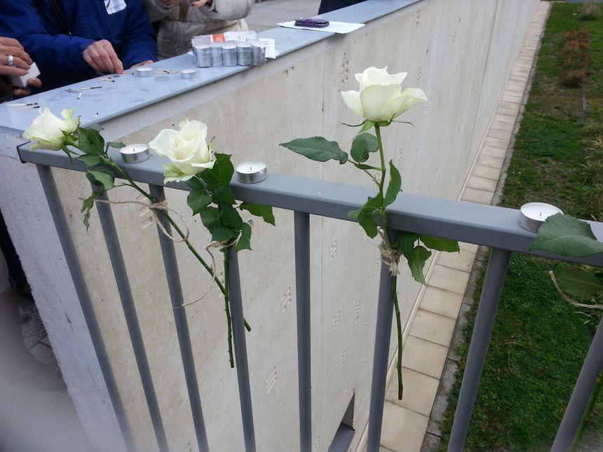 Des roses blanches et des bougies en hommage à Sylvie, une assistante familiale décédée en septembre après presque deux ans de difficultés suite à une agression