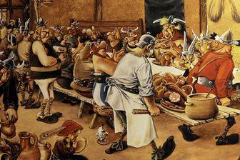 Le banquet dans Astérix et Obelix dans l'exposition à Volklingen (Sarre) en 2011 sur Asterix et les Celtes