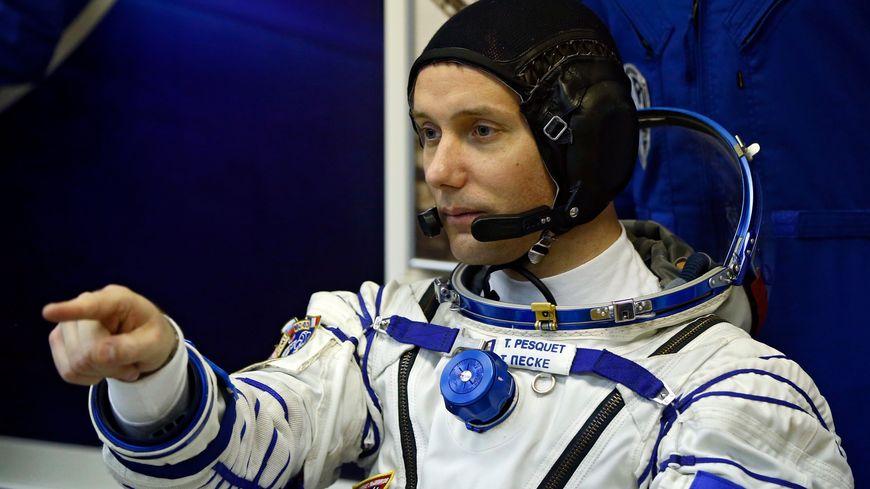Le spationaute Thomas Pesquet peu avant son décollage pour la station spatiale internationale