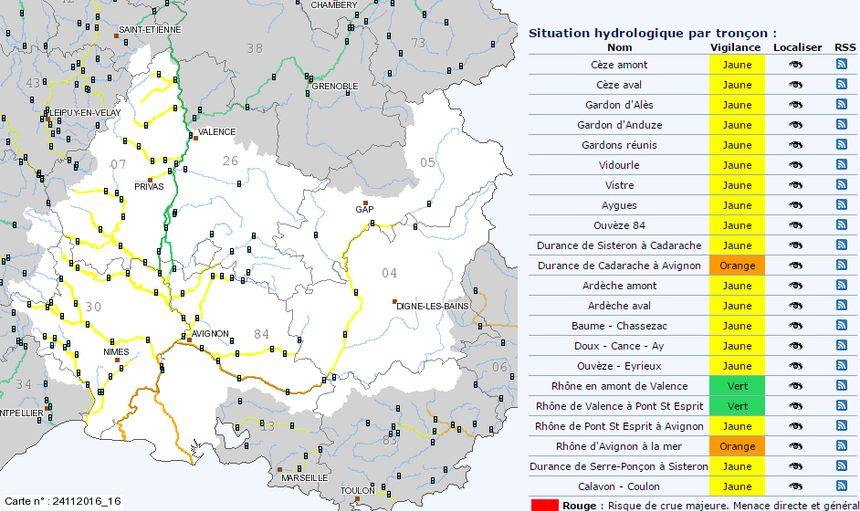 Le cours d'eau Eygues repasse en jaune d'après les prévisions de Vigicrues.