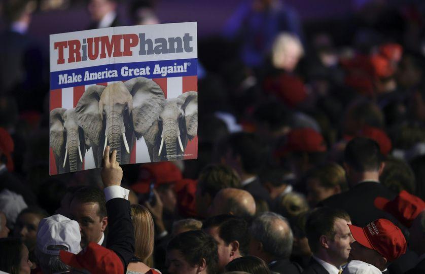 Supporters du candidat Donald Trump au New York Hilton