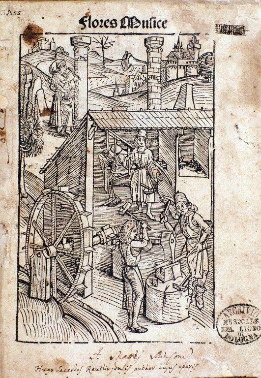 """Page tirée de """"Flores musices"""" (Fleur de la musique),  étude de Hugo von Reutlingen (v 1285-1360)"""
